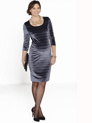 Maternity Long Sleeve Fitted Party Dress -Silver Velvet