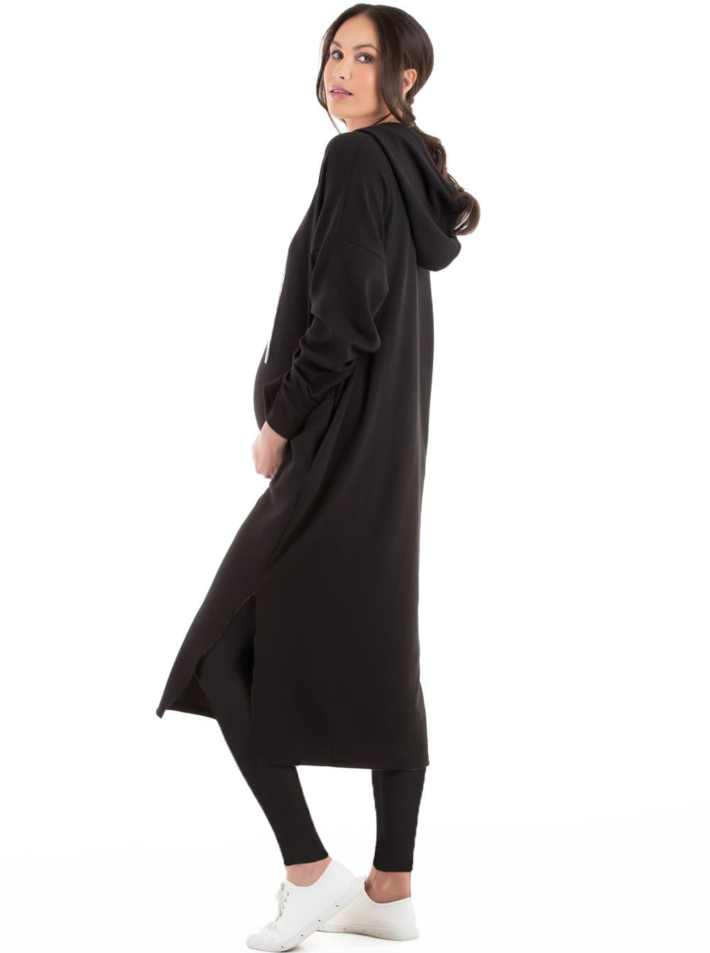 Maternity Oversize Hoodie Maternity Dress  - Black