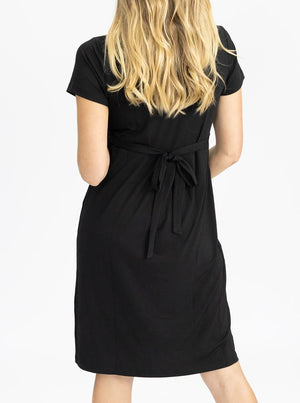 Maternity Crossover Neckline Tie Back Jersey Work Dress - Black