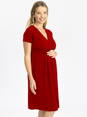 Maternity Tie Back Jersey Dress with Nursing Access - Red