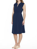 Maternity Sleeveless Stretchy Midi Knitted Dress - Navy