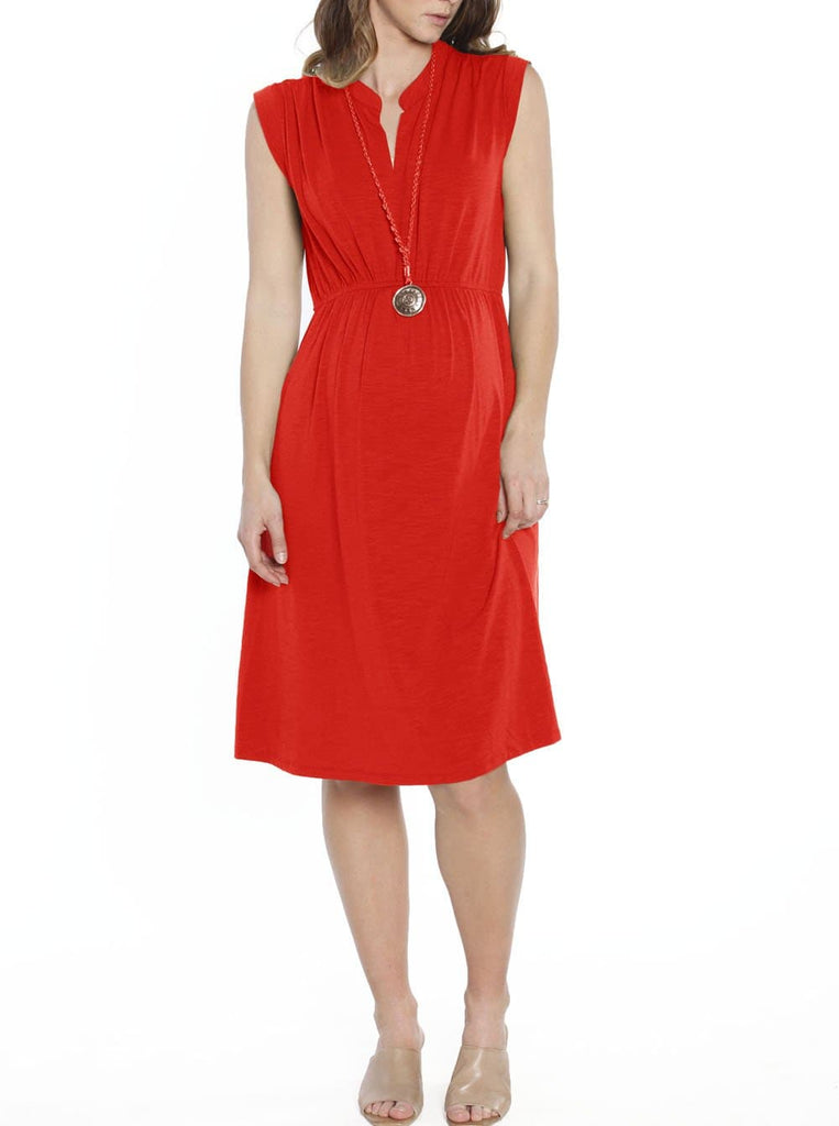 Maternity Sleeveless Stretchy Midi Knitted Dress - Red