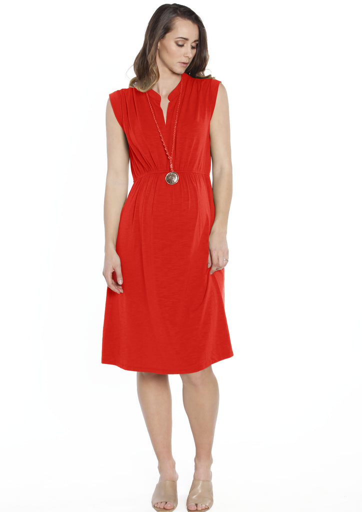 Maternity Sleeveless Stretchy Midi Knitted Dress - Red - Angel Maternity - Maternity clothes - shop online
