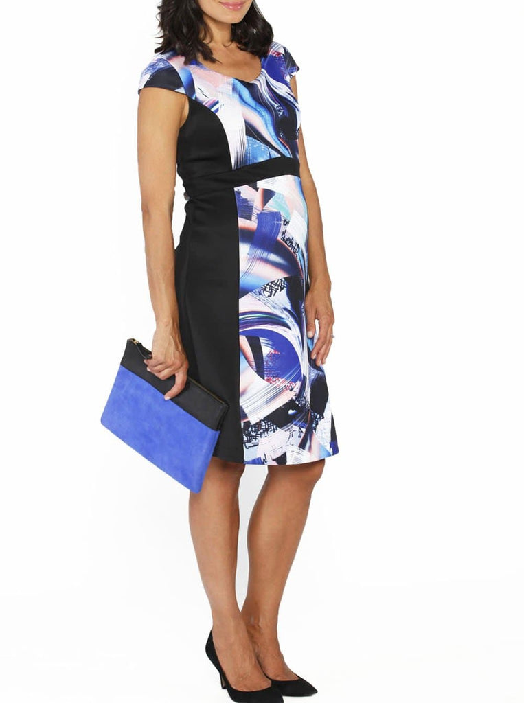 Maternity Illusion Panels Dress in Black & Blue Print