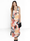 Maternity Party Chiffon Dress - Pink/ Orange/ Red Prints