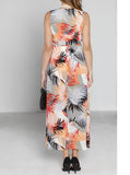 Maternity Party Long Chiffon Dress - Pink/ Orange/ Red Prints - Angel Maternity - Maternity clothes - shop online