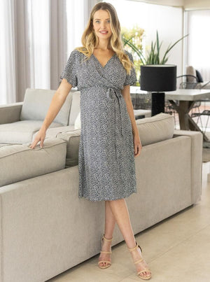 Maternity and Nursing Floral Wrap Dress - Navy main image