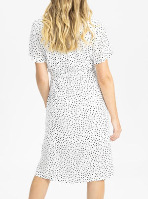 Maternity and Nursing Wrap Dress with Polka Dots back