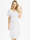Maternity and Nursing Wrap Dress with Polka Dots front