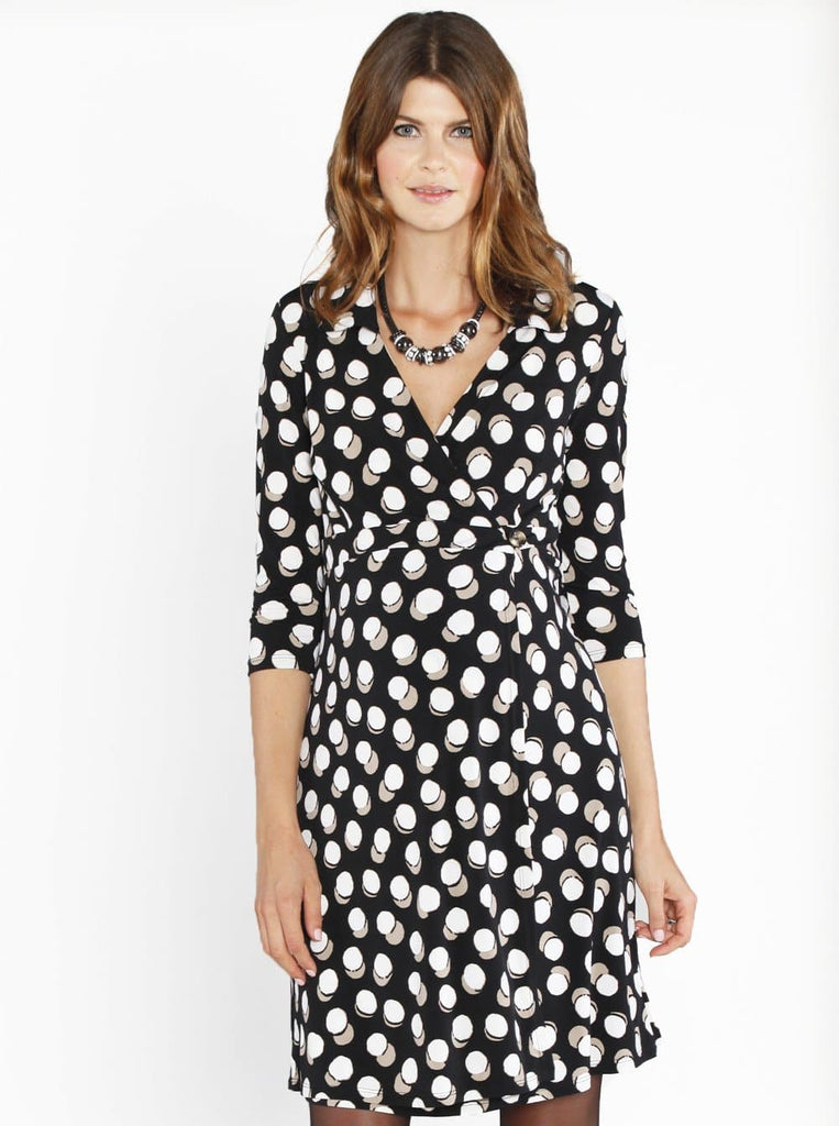 Maternity Jersey Dress with Easy Nursing Opening - Black Cream Dots - Angel Maternity - Maternity clothes - shop online