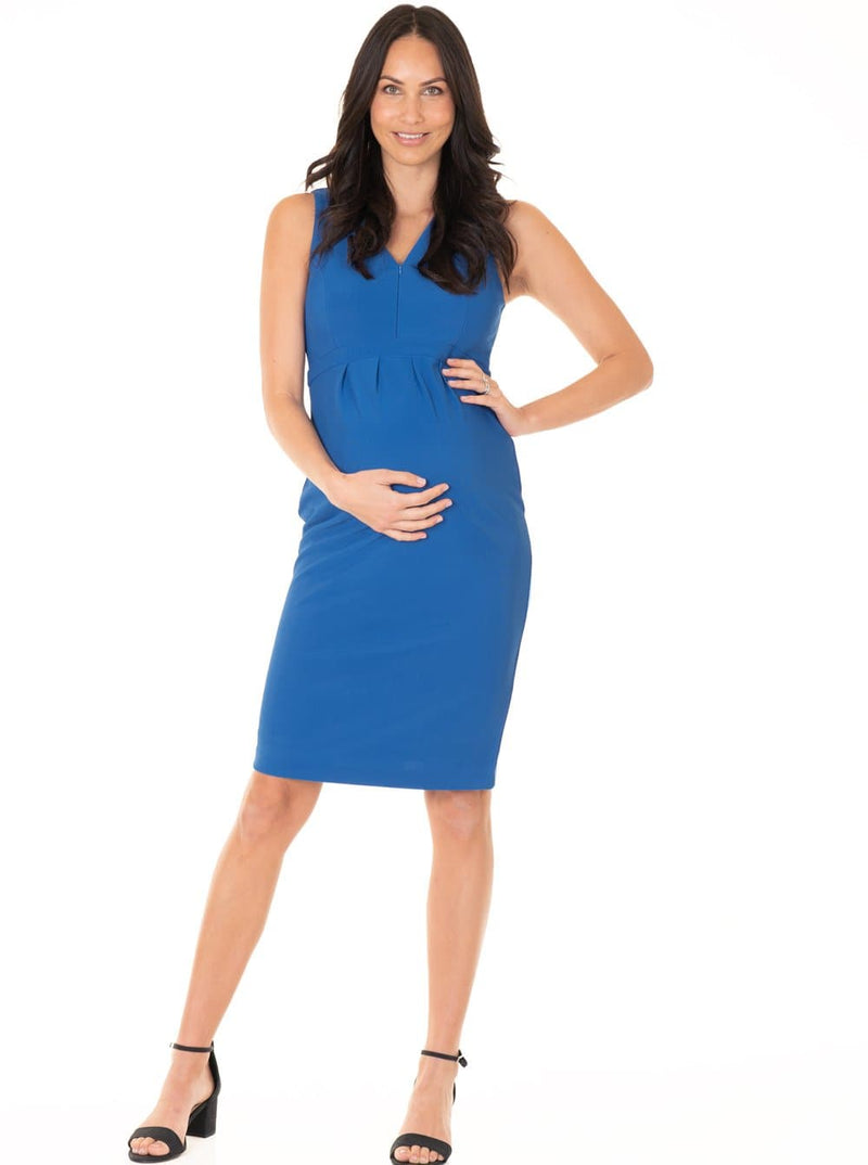 Sleeveless Ponti Zipper Nursing Dress - Blue