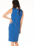 Breastfeeding Sleeveless Ponti Zipper Nursing Dress - Blue - Angel Maternity - Maternity clothes - shop online