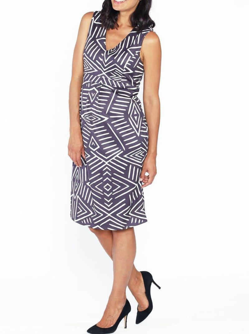 Maternity Sleeveless Ponti Party Dress - Grey and White Print - Angel Maternity - Maternity clothes - shop online