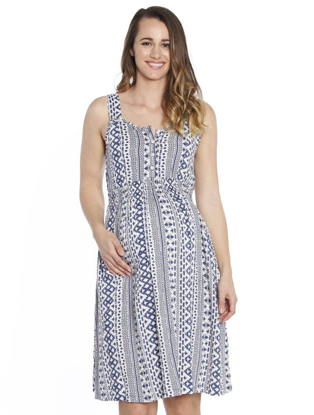 Maternity Summer Rayon Nursing Dress - Blue Tribal Print
