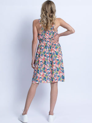 Maternity Summer Nursing Dress - Pink & Blue Floral
