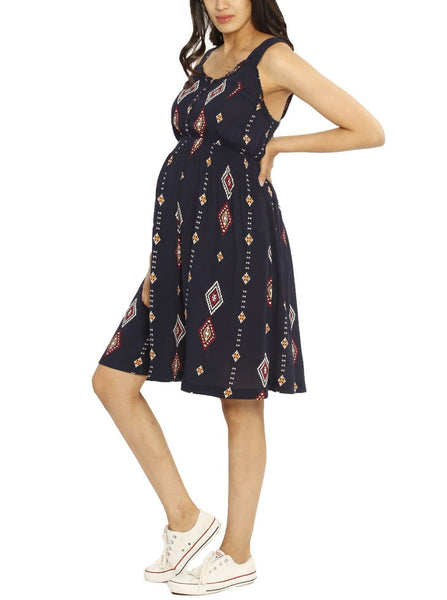 Maternity Summer Nursing Dress - Navy Print