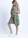 Maternity Summer Nursing Dress - Green Tropical Floral