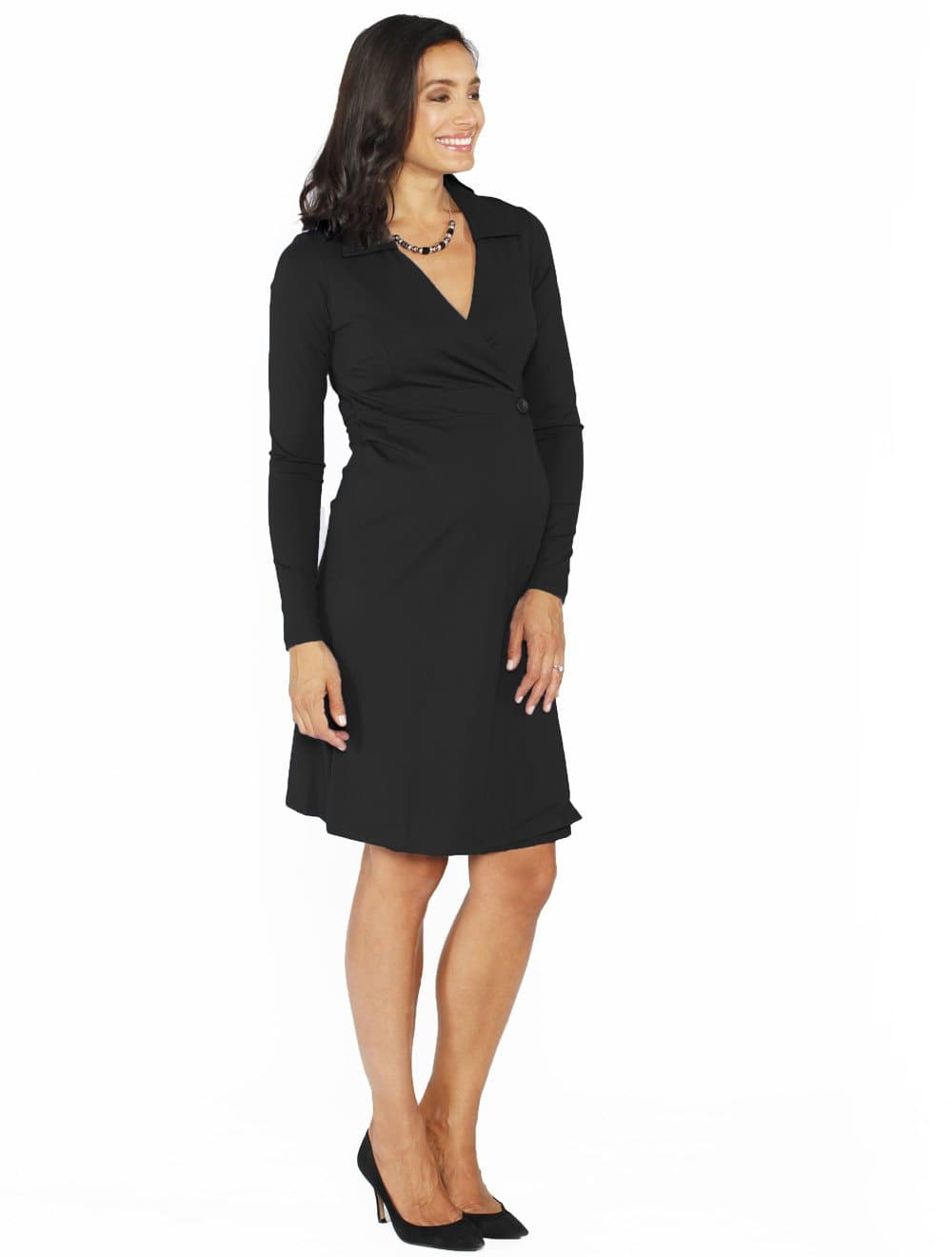 Maternity Mock Wrap Dress - Black