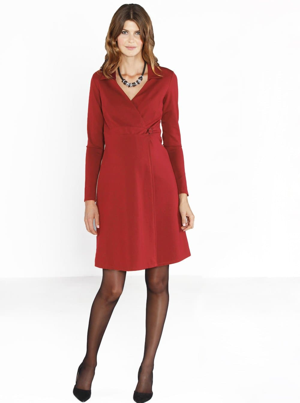 Maternity Mock Wrap Dress in Bright Winter Red - Easy Nursing Opening