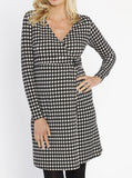 Maternity Mock Wrap Dress with Feeding Opening - Black Squares