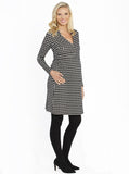 Maternity Mock Wrap Dress with Feeding Opening