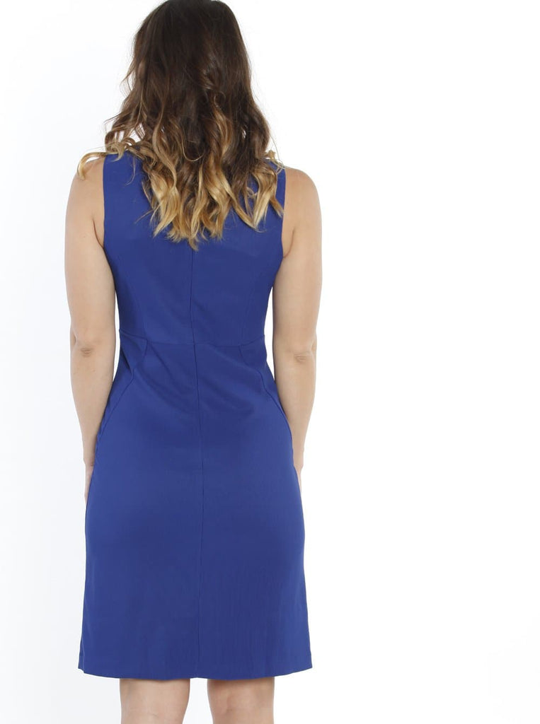 Maternity Sleeveless Fitted Pencil Dress - Cobalt Blue back