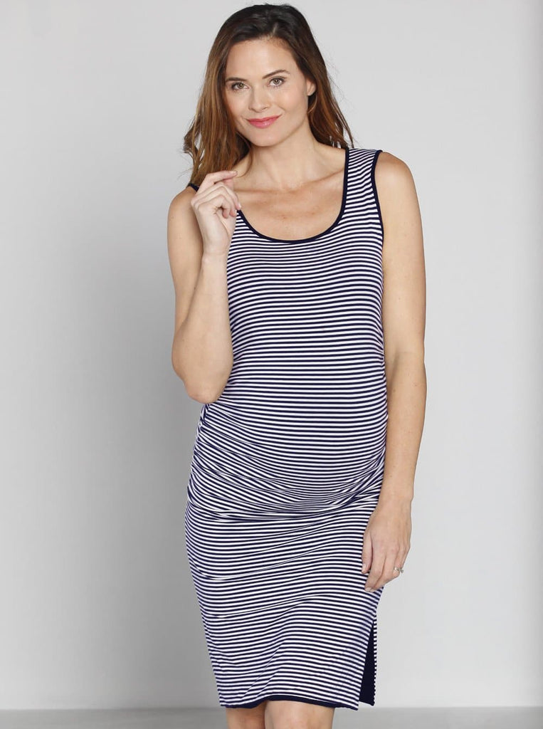 Maternity Reversible Dress in Navy Stripes - front