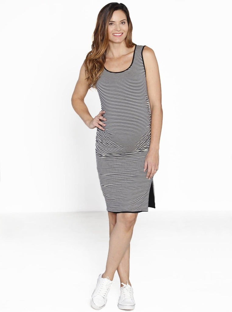 Reversible Maternity Dress in Black/ Stripes