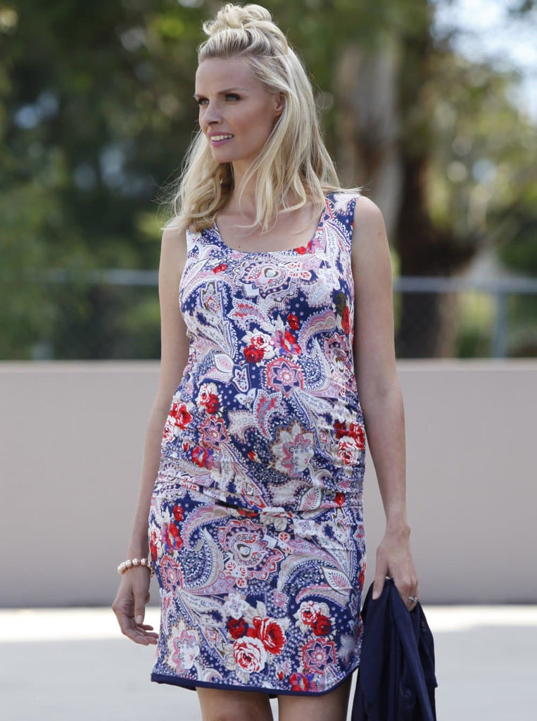 Maternity Reversible Dress in Navy Floral Abstract