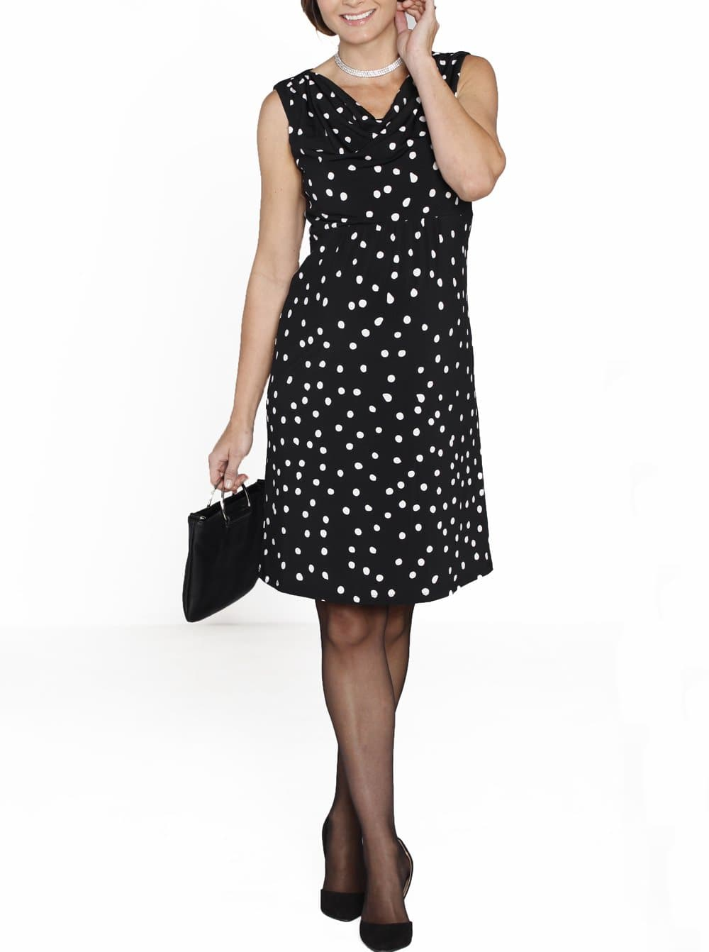 Maternity Cowl Neckline Party Dress - Polka Dots - Angel Maternity - Maternity clothes - shop online
