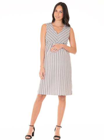 Busy Mummy Maternity Dress with Easy Nursing Opening - Cream Spots