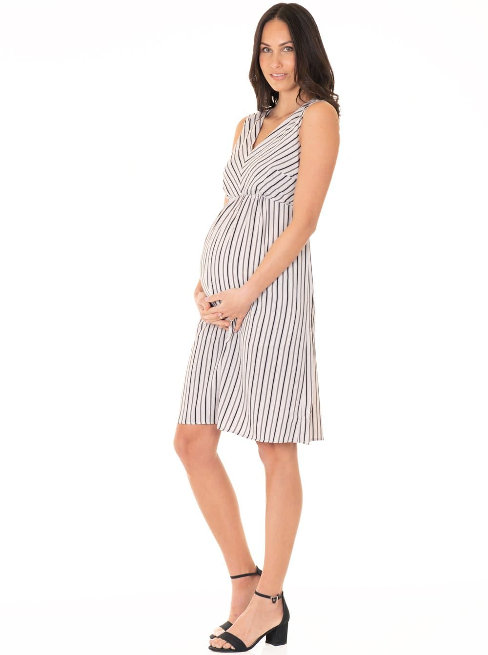 Maternity V-Neck Chiffon Dress in Black & White Stripes