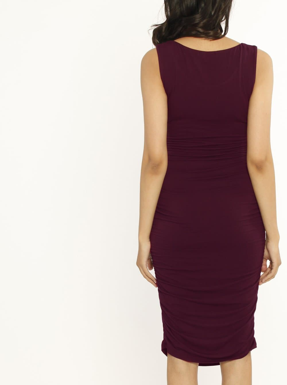Maternity Summer Bodycon Bamboo Dress - Burgundy maternity online store