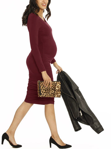 Maternity Bella Midi Dress - Navy Cherry Print