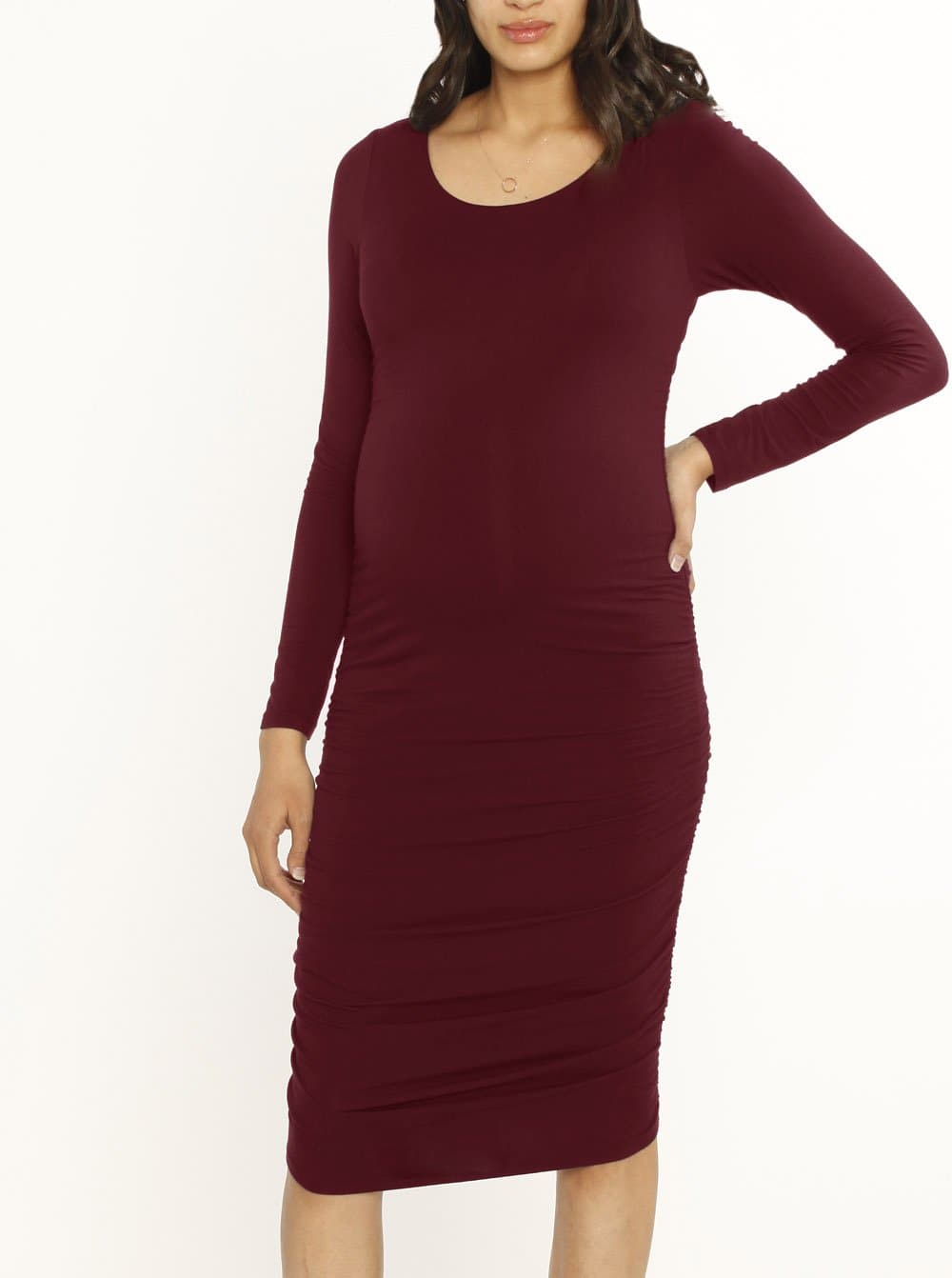 Body Hugging Long Sleeve Maternity Dress - Red