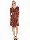 Maternity Mock Wrap Half Sleeve Dress - Maroon Print