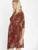 Maternity Mock Wrap Half Sleeve Dress - Maroon Print side