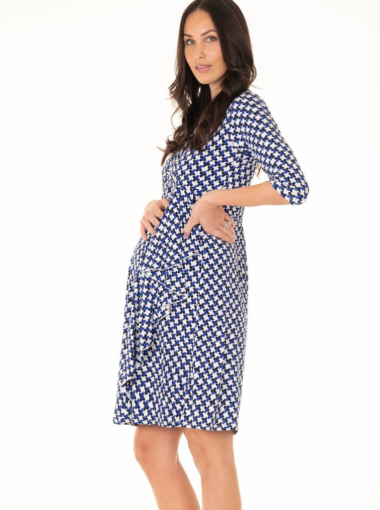 Maternity Mock Wrap Half Sleeve Dress - Blue & White - Angel Maternity - Maternity clothes - shop online