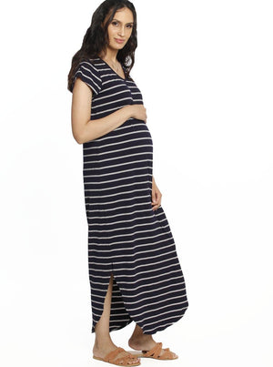 Maternity Casual Maxi Dress - Navy Stripes maternity dress online store