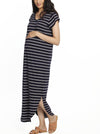 Maternity Casual Maxi Dress - Navy Stripes