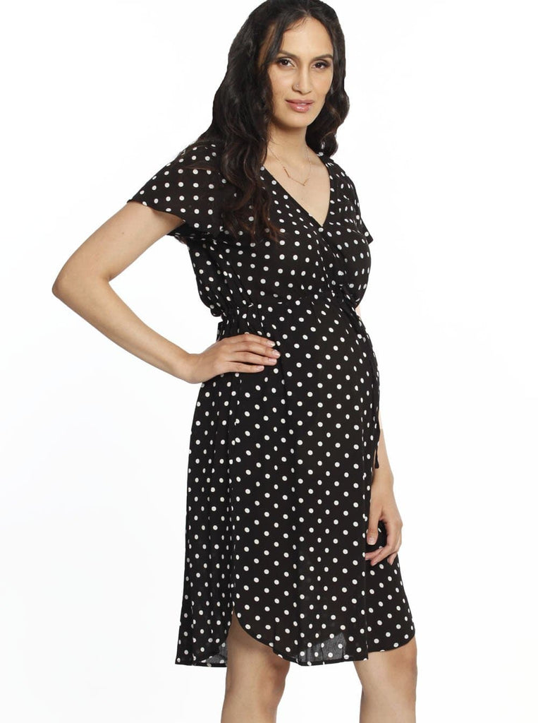 Maternity Drawstring Nursing Short Sleeve - Polkadots