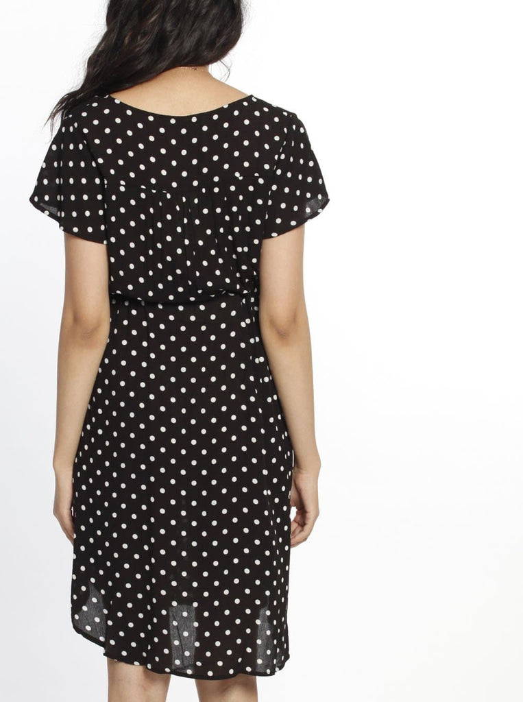 Maternity Drawstring Nursing Short Sleeve Dress - Polkadots