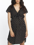 Maternity Drawstring Nursing Short Sleeve - Polkadots pregnancy dress