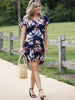 Maternity Drawstring Nursing Short Sleeve - Navy Floral Print