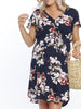 Maternity Drawstring Nursing Short Sleeve - Navy Floral Print breastfeeding dress