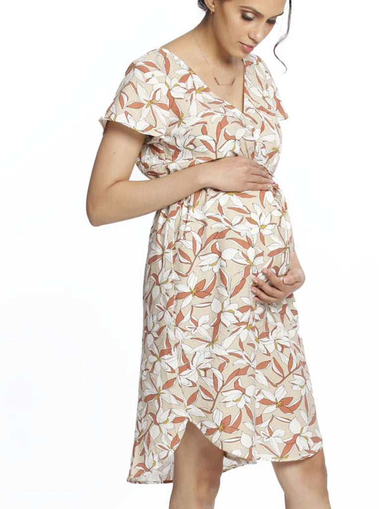 Maternity Drawstring Nursing Short Sleeve Dress- Beige Flowers