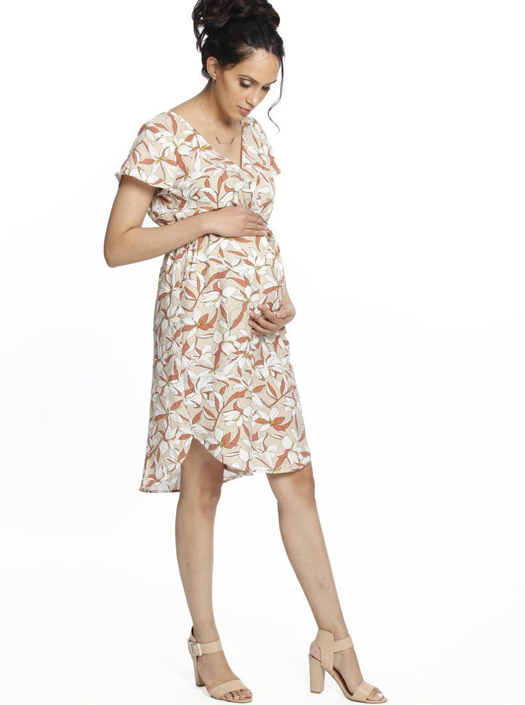 Maternity Drawstring Nursing Short Sleeve - Beige Flowers