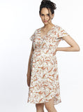Maternity Drawstring Nursing Short Sleeve - Beige Flowers party dress