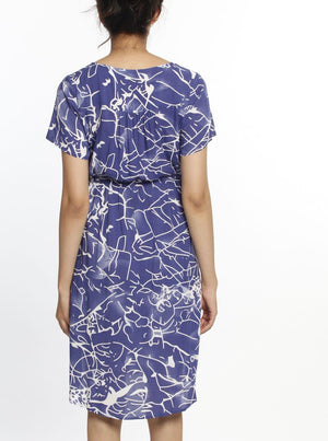 Maternity Drawstring Nursing Short Sleeve Dress - Blue Print