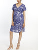 Maternity Drawstring Nursing Short Sleeve - Blue Print breastfeeding dress